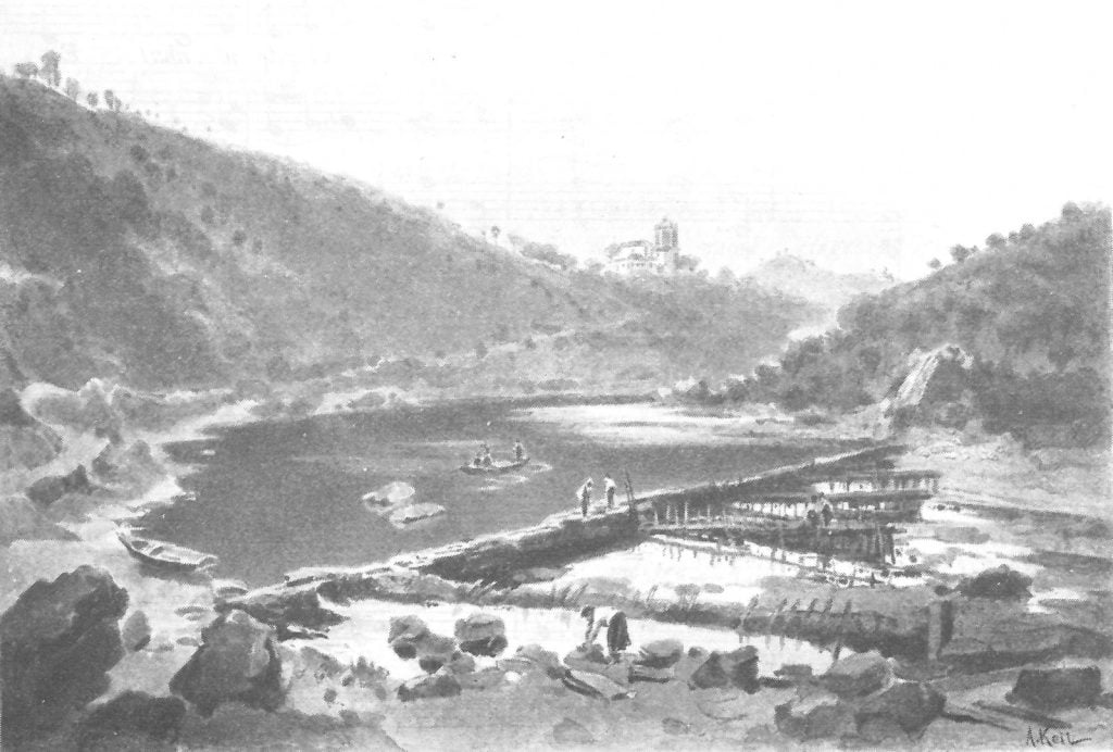 Ilustração da Igreja de Dornes vista das margens do Zêzere em Tojos e Rosmaninhos