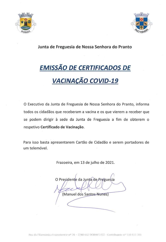 Emissão de Certificados de Vacinação COVID-19